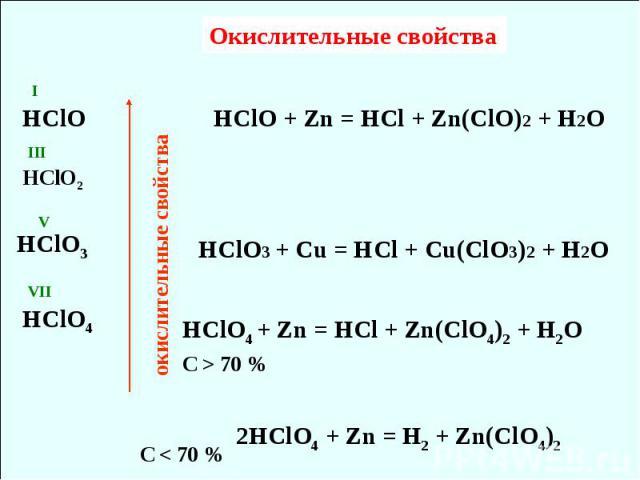 окислительные свойства Окислительные свойства VII V III I HClO HClO2 HClO3 HClO4 HClO + Zn = HCl + Zn(ClO)2 + H2O HClO3 + Cu = HCl + Cu(ClO3)2 + H2O 2HClO4 + Zn = H2 + Zn(ClO4)2 HClO4 + Zn = HCl + Zn(ClO4)2 + H2O С < 70 % С > 70 %