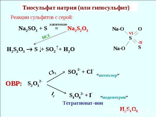 """Реакции сульфитов с серой: Na2SO3 + S = Na2S2O3 H2S2O3 S + SO2 + H2O HCl Тиосульфат натрия (или гипосульфит) кипячение S2O32- Cl2 SO42- + Cl- S4O62- + I- I2 Тетратионат-ион ОВР: """"антихлор"""" """"иодометрия"""" H2S4O6 S O S Na-O Na-O VI -II"""