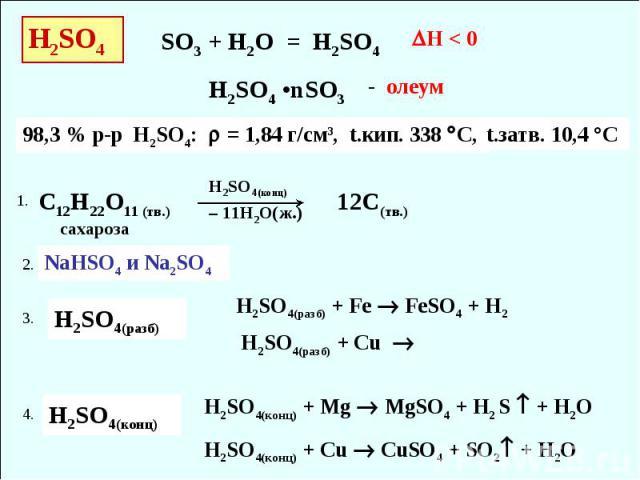 H2SO4 98,3 % р-р H2SO4: = 1,84 г/см3, t.кип. 338 С, SO3 + H2O = H2SO4 H2SO4 •nSO3 - олеум t.затв. 10,4 °C H < 0 C12H22O11 (тв.) H2SO4(конц) – 11H2O(ж.) 12С(тв.) сахароза NaHSO4 и Na2SO4 H2SO4(разб) H2SO4(разб) + Fe FeSO4 + H2 H2SO4(разб) + Cu H2SO4(…