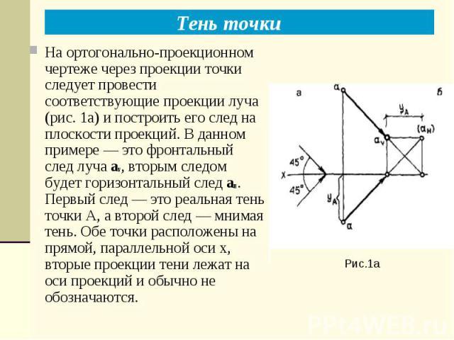 Тень точки Рис.1а На ортогонально-проекционном чертеже через проекции точки следует провести соответствующие проекции луча (рис. 1а) и построить его след на плоскости проекций. В данном примере — это фронтальный след луча av, вторым следом будет гор…