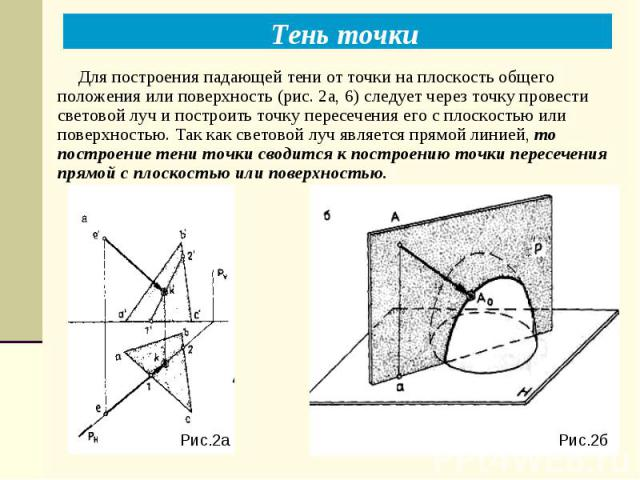 Рис.2б Рис.2а Тень точки Для построения падающей тени от точки на плоскость общего положения или поверхность (рис. 2а, 6) следует через точку провести световой луч и построить точку пересечения его с плоскостью или поверхностью. Так как световой луч…