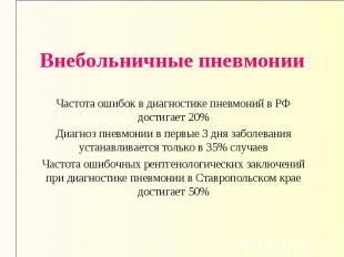 Внебольничные пневмонии Частота ошибок в диагностике пневмоний в РФ достигает 20