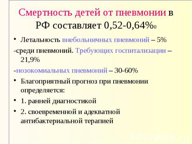 Смертность детей от пневмонии в РФ составляет 0,52-0,64%0 Летальность внебольничных пневмоний – 5% -среди пневмоний. Требующих госпитализации – 21,9% -нозокомиальных пневмоний – 30-60% Благоприятный прогноз при пневмонии определяется: 1. ранней диаг…