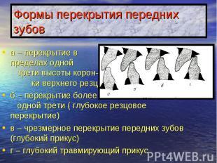 Формы перекрытия передних зубов а – перекрытие в пределах одной трети высоты кор