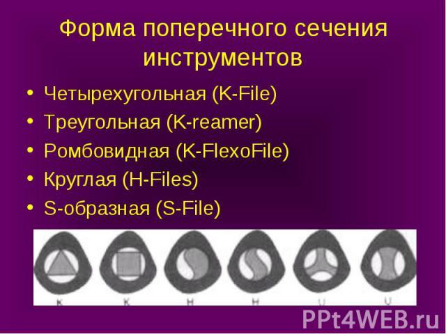 Форма поперечного сечения инструментов Четырехугольная (K-File) Треугольная (K-reamer) Ромбовидная (K-FlexoFile) Круглая (H-Files) S-образная (S-File)