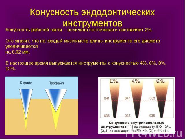 Конусность рабочей части – величина постоянная и составляет 2%. Это значит, что на каждый миллиметр длины инструмента его диаметр увеличивается на 0,02 мм. В настоящее время выпускаются инструменты с конусностью 4%, 6%, 8%, 12%. Конусность эндодонти…