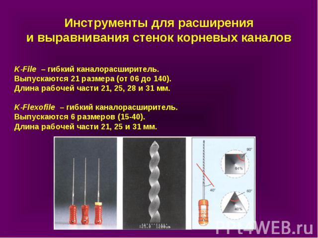 K-File – гибкий каналорасширитель. Выпускаются 21 размера (от 06 до 140). Длина рабочей части 21, 25, 28 и 31 мм. K-Flexofile – гибкий каналорасширитель. Выпускаются 6 размеров (15-40). Длина рабочей части 21, 25 и 31 мм. Инструменты для расширения …