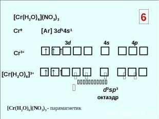 [Cr(H2O)6](NO3)3 Cr0 [Ar] 3d54s1 Cr3+ [Cr(H2O)6]3+ ↑ ↑ ↑ 3d 4s 4p ⇅ ⇅ ⇅ ⇅ ⇅ ⇅ ↑