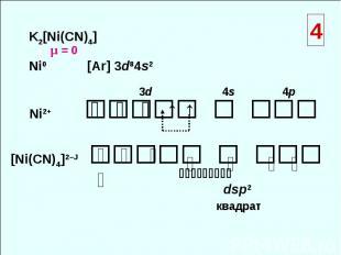 K2[Ni(CN)4] Ni0 [Ar] 3d84s2 Ni2+ [Ni(СN)4]2–Ј ⇅ ⇅ ⇅ ↑ ↑ 3d 4s 4p ⇅ ⇅ ⇅ ⇅ ⇅ ⇅ ⇅ ⇅