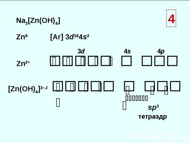 Na2[Zn(OH)4] Zn0 [Ar] 3d104s2 Zn2+ [Zn(OH)4]2–Ј ⇅ ⇅ ⇅ ⇅ ⇅ 3d 4s 4p ⇅ ⇅ ⇅ ⇅ ⇅ ⇅ ⇅ ⇅ ⇅ sp3 тетраэдр 4