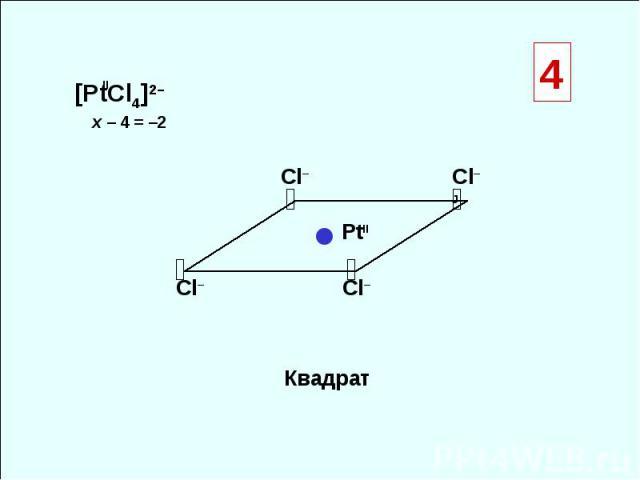 [PtCl4]2– Квадрат ◒ ◒ ◒ ◒ ● Сl– Сl–Ј Сl– Сl– x – 4 = –2 II PtII 4