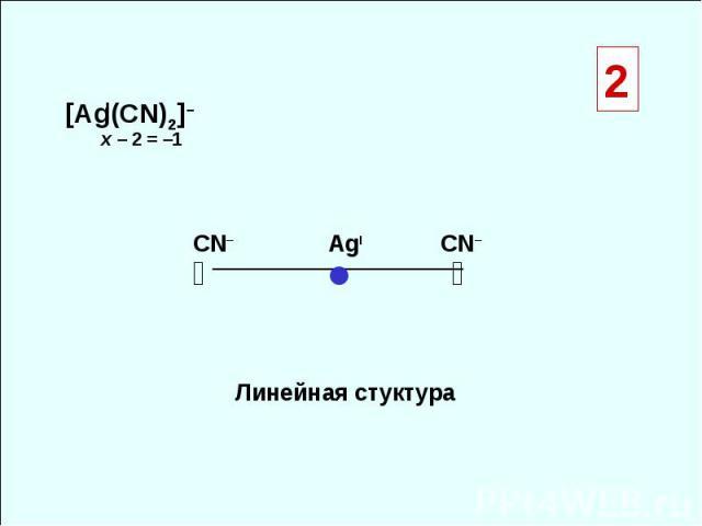[Ag(CN)2]– ◑ ◐ ● Линейная стуктура СN– CN– x – 2 = –1 I AgI 2