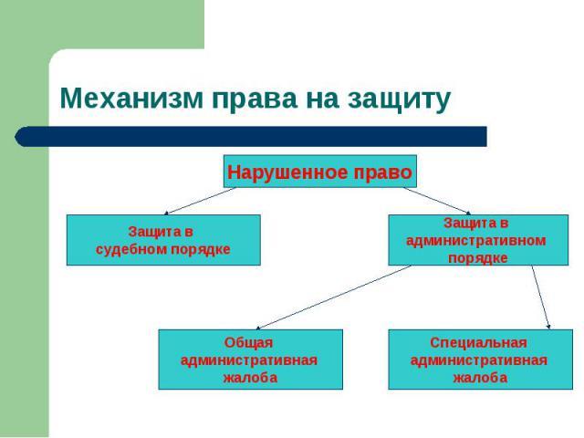 Нарушенное право Защита в судебном порядке Защита в административном порядке Общая административная жалоба Специальная административная жалоба Механизм права на защиту