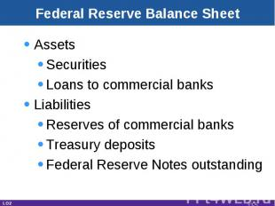 AssetsSecuritiesLoans to commercial banksLiabilitiesReserves of commercial banks