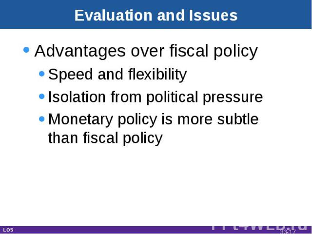 Evaluation and Issues Advantages over fiscal policySpeed and flexibilityIsolation from political pressureMonetary policy is more subtle than fiscal policy LO5 33-*