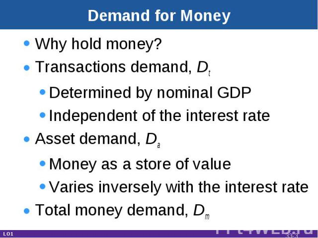Demand for Money Why hold money?Transactions demand, DtDetermined by nominal GDPIndependent of the interest rateAsset demand, DaMoney as a store of valueVaries inversely with the interest rateTotal money demand, Dm LO1 33-*