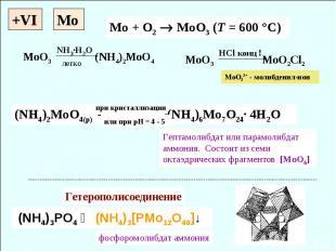 +VI Mo + O2 MoO3 (T = 600 °C) (NH4)2MoO4(p) (NH4)6Mo7O24· 4H2O (NH4)3PO4 ↝ (NH4)