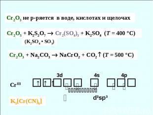 CrIII 3d 4s 4p ⇅ ⇅ ⇅ ⇅ ⇅ ⇅ ↑ ↑ ↑ d2sp3 Cr2O3 + Na2CO3 NaCrO2 + CO2 (T = 500 °C)