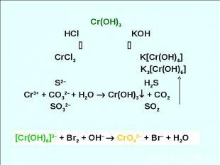 Сr(OH)3 HCl KOH CrCl3 K[Cr(OH)4] K3[Cr(OH)6] S2– H2S Cr3+ + CO32– + H2O Cr(OH)3