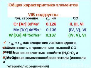 Общая характеристика элементов VIB подгруппы Эл. cтроение rат, нм СО Cr [Ar] 3d5