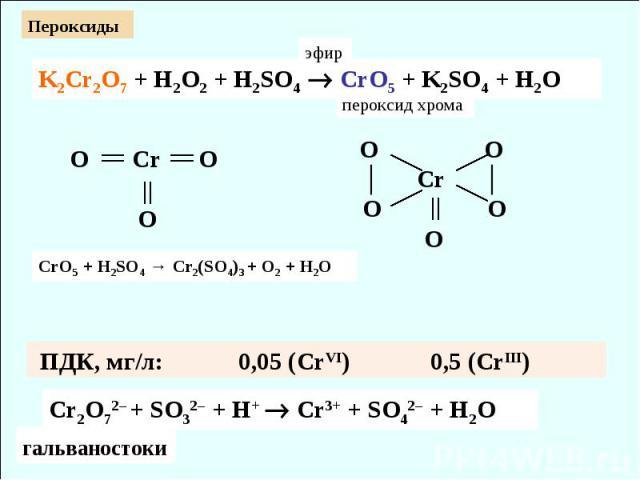 Cr2O72– + SO32– + H+ Cr3+ + SO42– + H2O ПДК, мг/л: 0,05 (CrVI) 0,5 (CrIII) K2Cr2O7 + H2O2 + H2SO4 CrO5 + K2SO4 + H2O O Cr O O O O │ Cr │ O O O эфир пероксид хрома гальваностоки Пероксиды СrO5 + H2SO4 → Cr2(SO4)3 + O2 + H2O