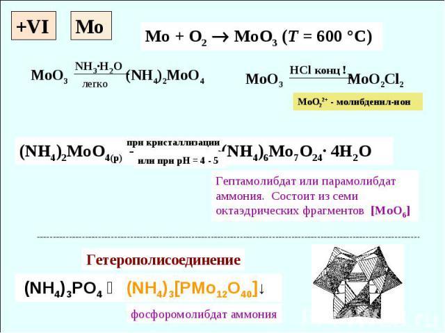 +VI Mo + O2 MoO3 (T = 600 °C) (NH4)2MoO4(p) (NH4)6Mo7O24· 4H2O (NH4)3PO4 ↝ (NH4)3[PMo12O40]↓ при кристаллизации Гептамолибдат или парамолибдат аммония. Cостоит из семи октаэдрических фрагментов [MoO6] Гетерополисоединение фосфоромолибдат аммония Mo …