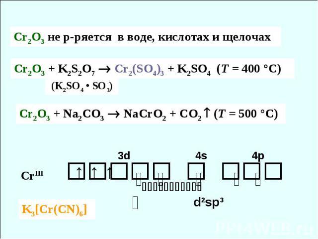 CrIII 3d 4s 4p ⇅ ⇅ ⇅ ⇅ ⇅ ⇅ ↑ ↑ ↑ d2sp3 Cr2O3 + Na2CO3 NaCrO2 + CO2 (T = 500 °C) Cr2O3 + K2S2O7 Cr2(SO4)3 + K2SO4 (T = 400 °C) (K2SO4 • SO3) Cr2O3 не р-ряется в воде, кислотах и щелочах K3[Cr(CN)6]