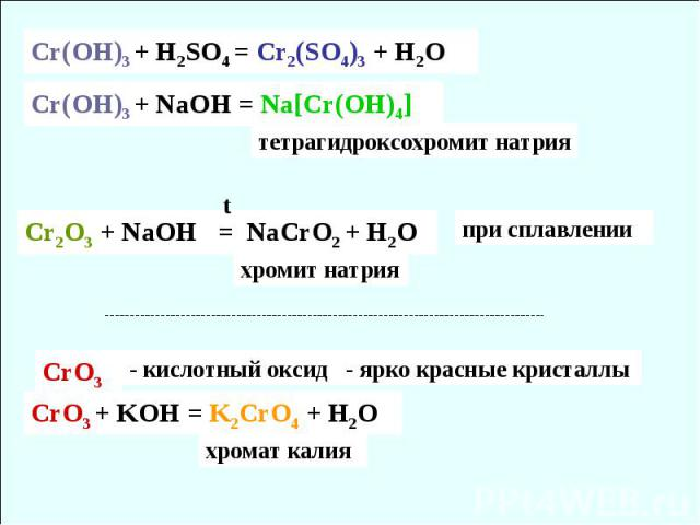 Cr(OH)3 + H2SO4 = Cr2(SO4)3 + H2O Cr(OH)3 + NaOH = Na[Cr(OH)4] тетрагидроксохромит натрия Cr2O3 + NaOH = NaCrO2 + H2O хромит натрия t СrO3 - кислотный оксид CrO3 + KOH = K2CrO4 + H2O хромат калия - ярко красные кристаллы при сплавлении