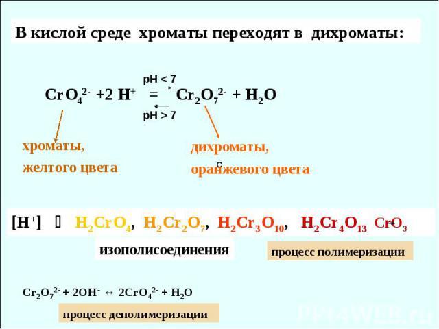 C В кислой среде хроматы переходят в дихроматы: СrO42- +2 H+ = Cr2O72- + H2O хроматы, желтого цвета дихроматы, оранжевого цвета pH < 7 pH > 7 [H+] H2CrO4, H2Cr2O7, H2Cr3O10, H2Cr4O13 CrO3 изополисоединения Cr2O72- + 2OH- ↔ 2CrO42- + H2O процесс поли…