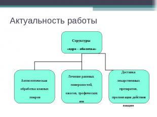Актуальность работы Структуры «ядро – оболочка» Антисептическая обработка кожных