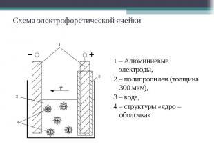 Схема электрофоретической ячейки 1 – Алюминиевые электроды, 2 – полипропилен (то