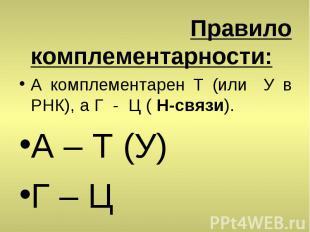 Правило комплементарности: А комплементарен T (или У в РНК), а Г - Ц ( H-связи).