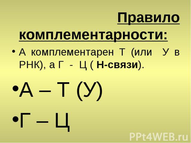 Правило комплементарности: А комплементарен T (или У в РНК), а Г - Ц ( H-связи). A – T (У) Г – Ц