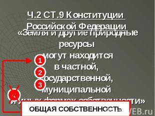 1 2 3 4 ОБЩАЯ СОБСТВЕННОСТЬ Ч.2 СТ.9 Конституции Российской Федерации «Земля и д