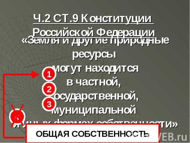 1 2 3 4 ОБЩАЯ СОБСТВЕННОСТЬ Ч.2 СТ.9 Конституции Российской Федерации «Земля и другие природные ресурсы могут находится в частной, государственной, муниципальной и иных формах собственности»