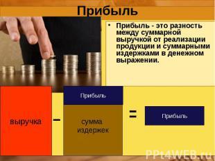выручка сумма издержек Прибыль Прибыль Прибыль Прибыль - это разность между сумм