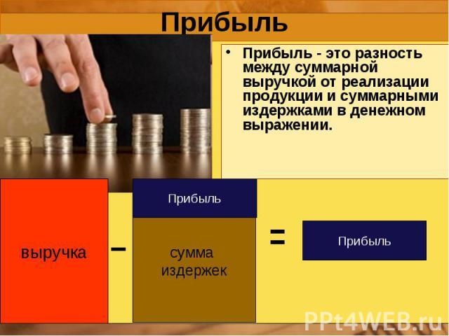 выручка сумма издержек Прибыль Прибыль Прибыль Прибыль - это разность между суммарной выручкой от реализации продукции и суммарными издержками в денежном выражении.