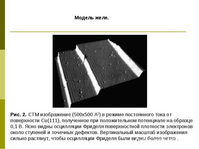 Модель желе. Рис. 2. СТМ изображение (500x500 А2) в режиме постоянного тока от поверхности Cu(111), полученное при положительном потенциале на образце 0,1 В. Ясно видны осцилляции Фриделя поверхностной плотности электронов около ступеней и точечных …