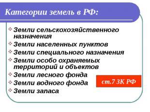 ст.7 ЗК РФ Категории земель в РФ: Земли сельскохозяйственного назначения Земли н