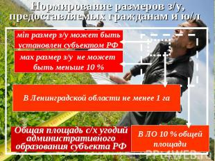 Общая площадь с/х угодий административного образования субъекта РФ мin размер з/