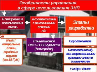 Особенности управления в сфере использования ЗНП Планирование использования земе