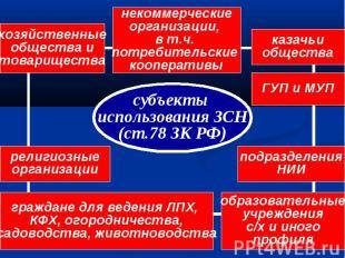 субъекты использования ЗСН (ст.78 ЗК РФ) некоммерческие организации, в т.ч. потр