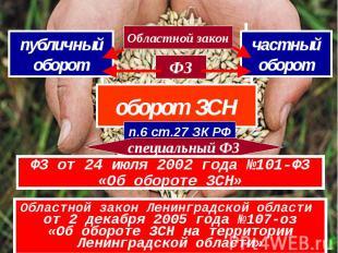 оборот ЗСН п.6 ст.27 ЗК РФ специальный ФЗ ФЗ от 24 июля 2002 года №101-ФЗ «Об об