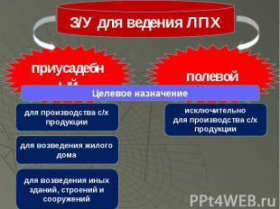 З/У для ведения ЛПХ приусадебный полевой для производства с/х продукции для возв