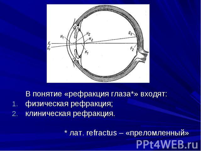 В понятие «рефракция глаза*» входят: В понятие «рефракция глаза*» входят: физическая рефракция;клиническая рефракция.* лат. refractus – «преломленный»