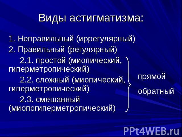 Виды астигматизма:1. Неправильный (иррегулярный) 2. Правильный (регулярный)2.1. простой (миопический, гиперметропический)2.2. сложный (миопический, гиперметропический)2.3. смешанный (миопогиперметропический)