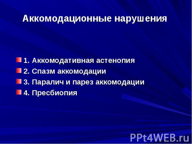 Аккомодационные нарушения 1. Аккомодативная астенопия 2. Спазм аккомодации3. Паралич и парез аккомодации4. Пресбиопия