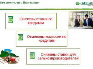 * Нам важно, что Вам важно Снижены ставки по кредитам Отменены комиссии по креди