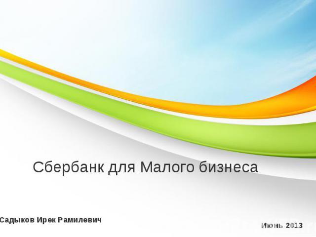 Сбербанк для Малого бизнеса Июнь 2013 Садыков Ирек Рамилевич
