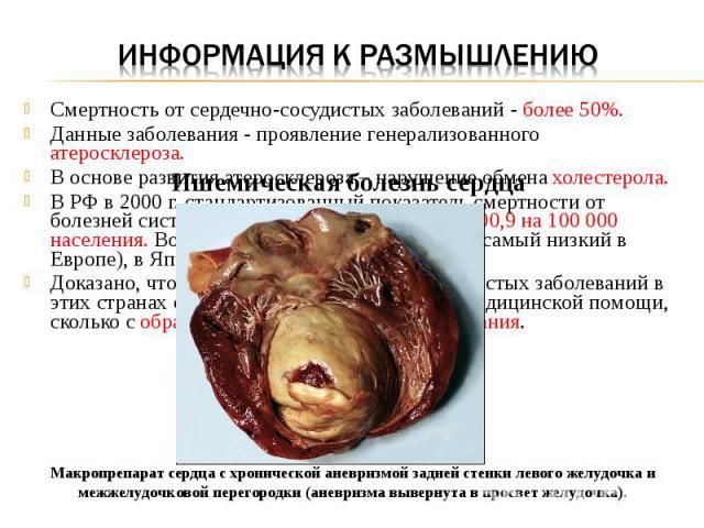 Смертность от сердечно-сосудистых заболеваний - более 50%. Данные заболевания - проявление генерализованного атеросклероза. В основе развития атеросклероза – нарушение обмена холестерола. В РФ в 2000 г. стандартизованный показатель смертности от бол…